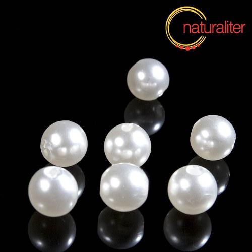 Voskované perly, bílé, 10mm, 25ks