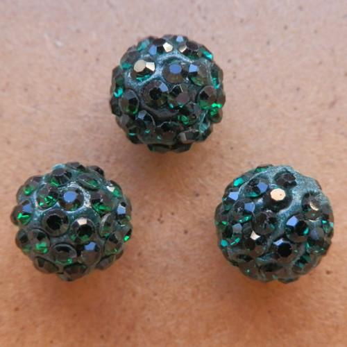 Štrasový korálek zelený 10 mm