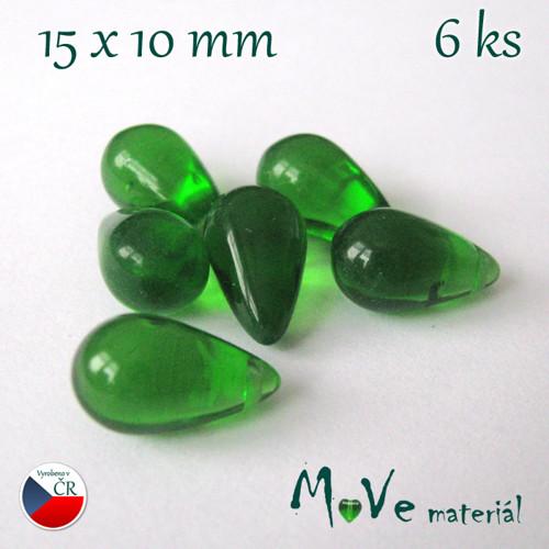 České skleněné kapky 15x10mm/6ks, zelené