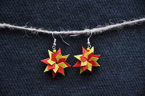Hvězda - origami náušnice