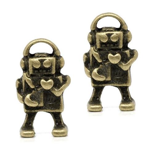 Bronzový přívěsek - robot, 2 kusy