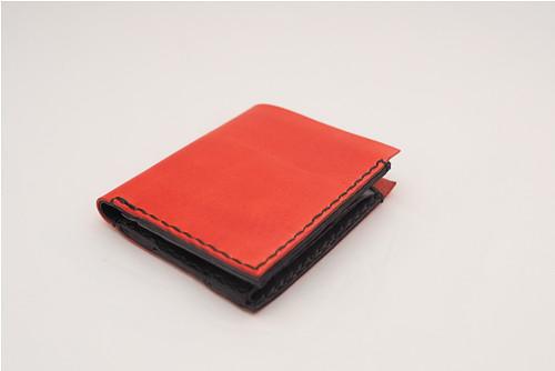 Kožená peněženka-červená-černá