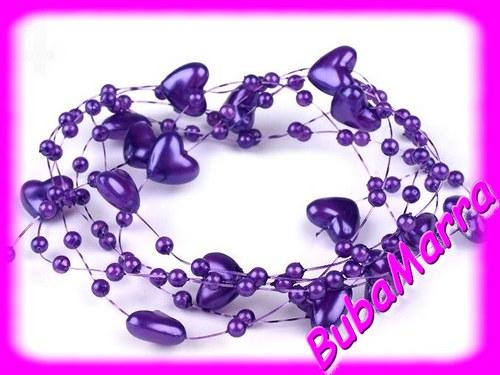 ~Perličky na silonu~ svatební srdce Ø10 ~ fialová