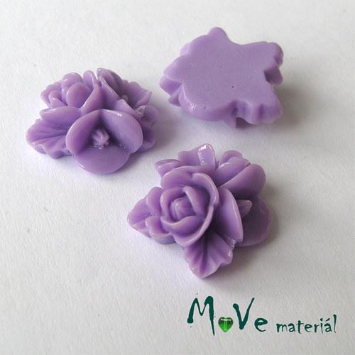 Kabošon květy lesklý A8 - resin - 2ks, fialový