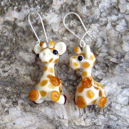 Náušnice žirafa - vinuté perle