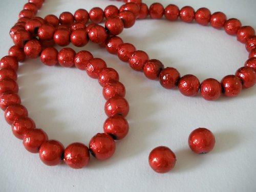 Korálky Ø10mm metalízované červené  - 10 ks