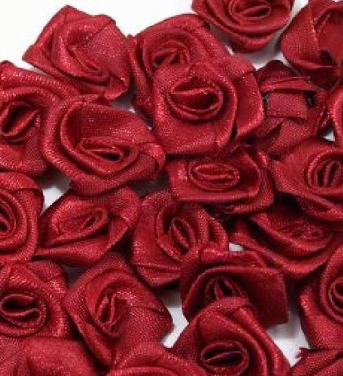 Saténová růžička 10 ks: Bordó