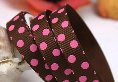 Stuha rypsová š.10 mm: Hnědá s růžovými puntíky