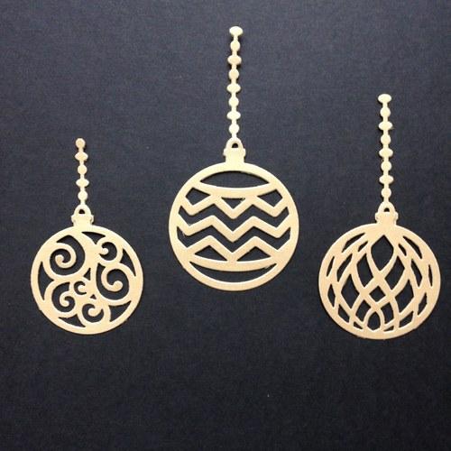 Vánoce - výseky zlaté kulaté baňky (sada)