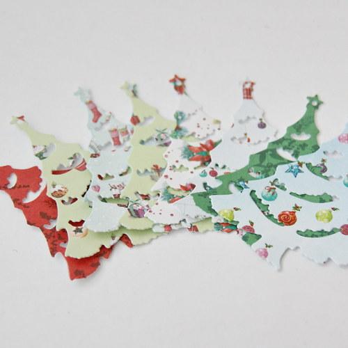 Papírový výsek - stromek malý, vyřezávaný