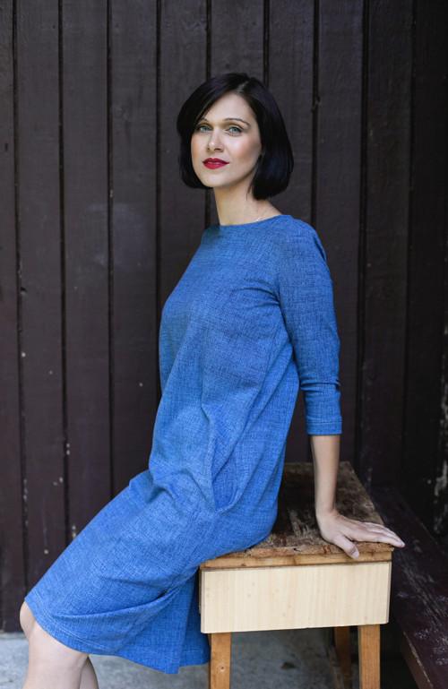 Dámské volné šaty 3/4 rukáv (teplákovina) - jeans