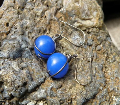 Naušnice - měď - modrý jadeit
