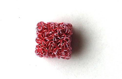 kostička z drátku- růžová