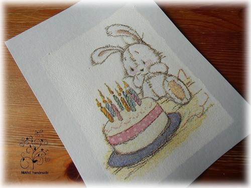 Pohlednice - plyšák s dortem