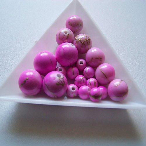 akrylové korálky, žíhané, MIX / růžové / 20 ks