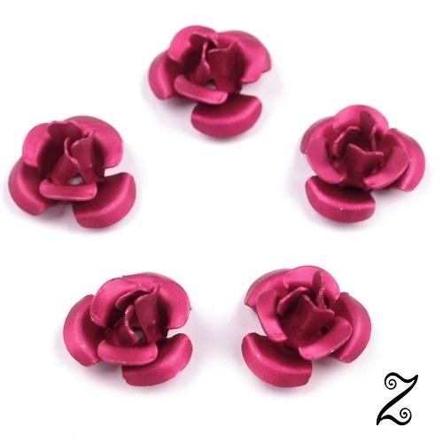 Kovová růžička, růžová matná, 12 mm (10ks)