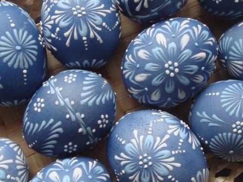 Kraslice modré - voskový reliéf