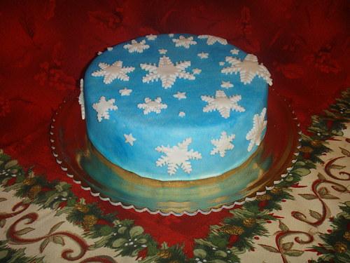 Vánoční dort - modré nebe a sněhové vločky