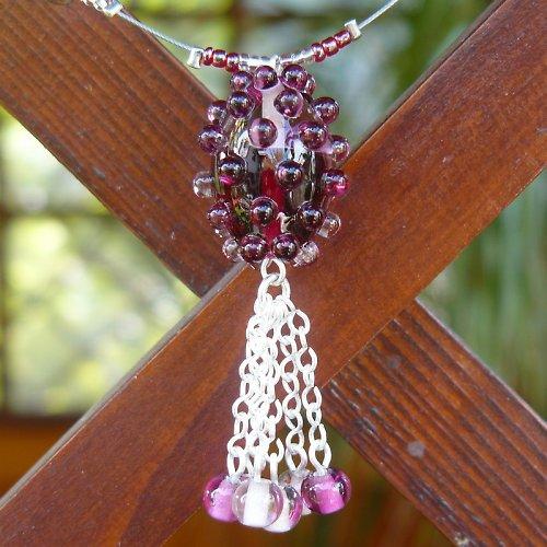 Náhrdelník dvoubarevná oliva - malinovo - růžová