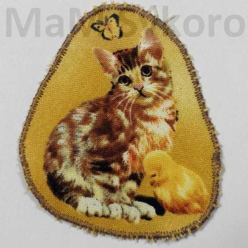 Nažehlovací záplata kočička s kuřátkem Sleva