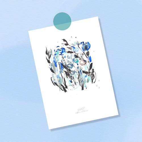 Modré květiny. Signovaný tisk do rámu A4