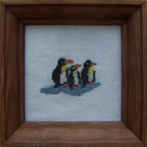 Vyšívaný obrázek - tučňáci