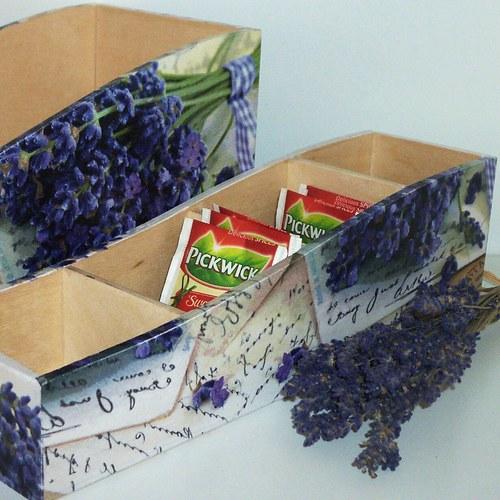 Krabička na čaj s levandulí
