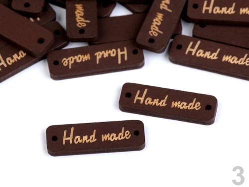 "Dřevěná cedulka \""Hand made\"" 10x30mm (10ks) - ořech"