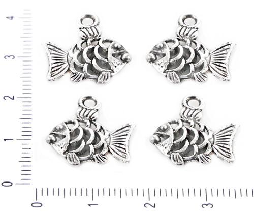 8ks Starožitné Stříbro Tón Pokovené, Ryby, Mořské