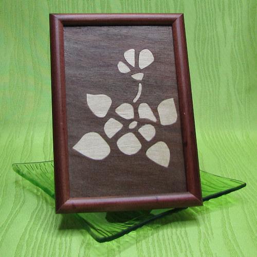 Intarzie - fialka tmavá - dřevěný obrázek