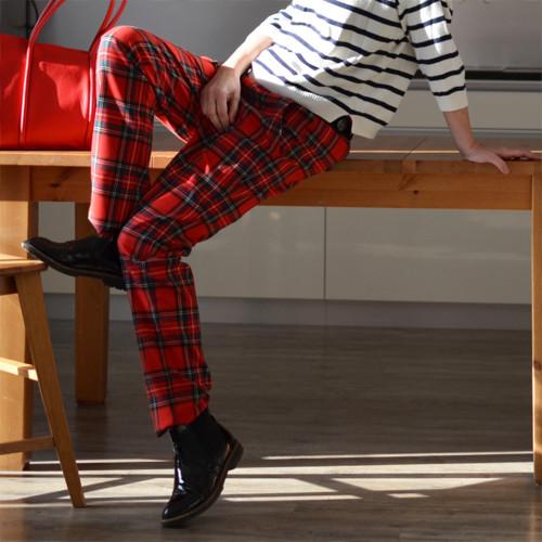 Kostkáče červené - kalhoty NA MÍRU