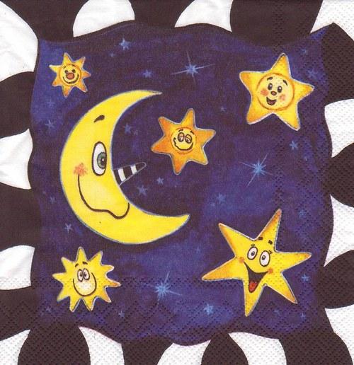 Ubrousek - měsíc a hvězdy