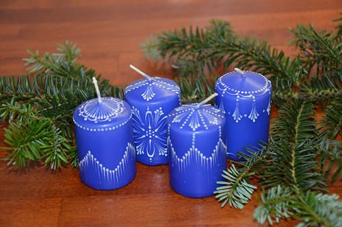 Svíčky modré - sada 4 ks
