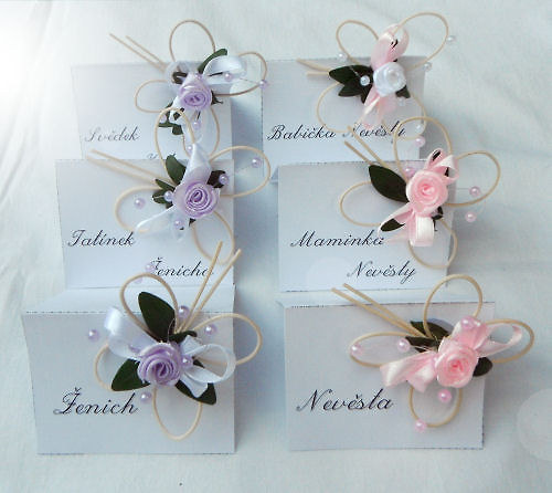 Svatební jmenovky - růžová-fialová