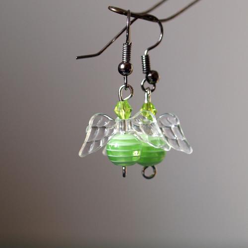 Náušnice - zelený proužkatý anděl