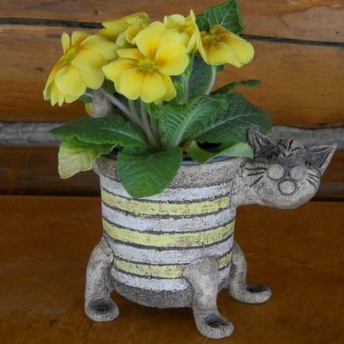 Květináč kočka žlutobílý