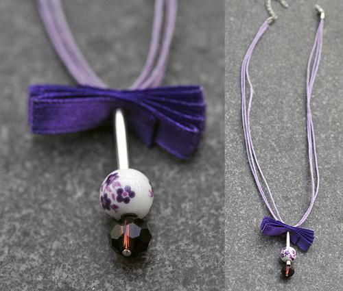 Náhrdelník s fialovým porcelánovým korálkem N0094V