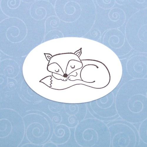 Spící liška (inkoust. otisk)