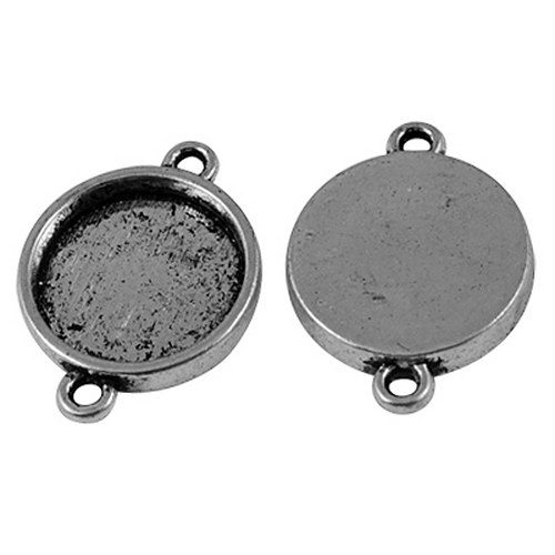 konektor (ramínko)/ ant.stříbro / 26x19mm / 1ks