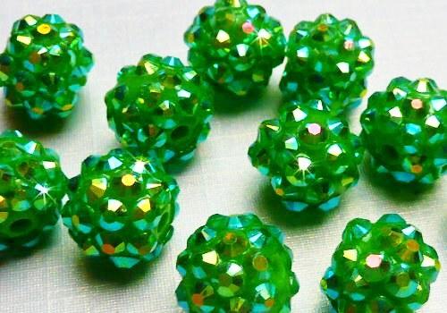 Discoball / Shamballa 12 mm - sytě zelená / 1 ks