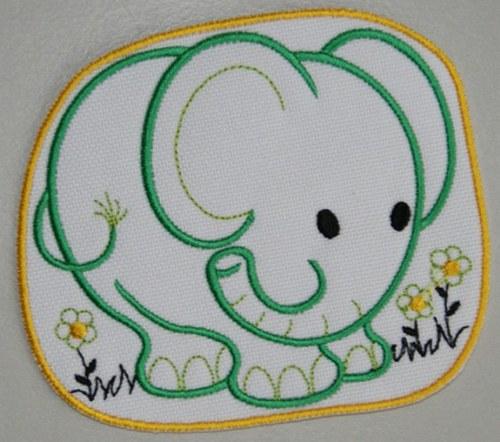 Nažehlovací výšivka Šťastný slon