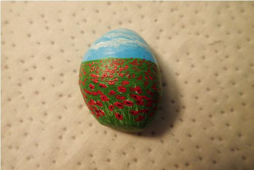 Vlčí máky - malovaný kámen
