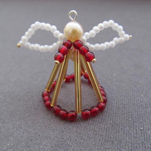Vánoční andílek 3D červenozlatý