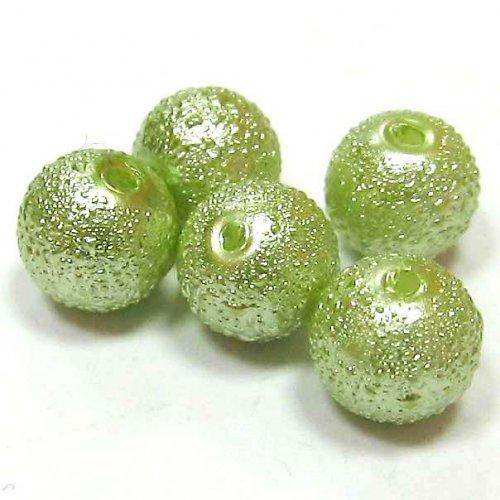 Zvrásněné perly 8 mm - zelená - 5 ks