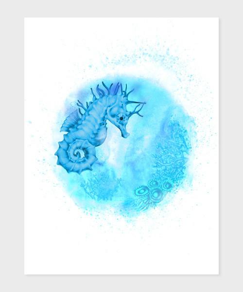 Mořský koník A5,A4 reprodukce autorské kresby