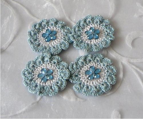 Sada květů zdobených modrostříbrných