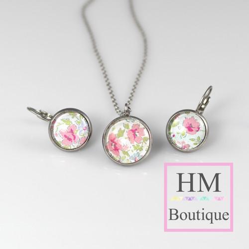 ocelový set -náušnice a náhrdelník luční květiny