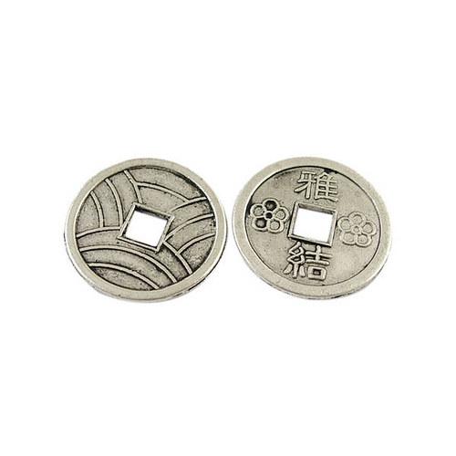 KKO2268, KORÁLKA Čínska minca StaroSTRIEBRO/5ks