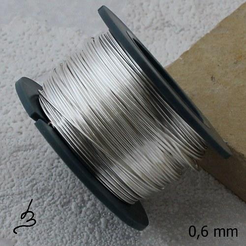 Postříbřený měděný drát 0,6 mm - 15 m