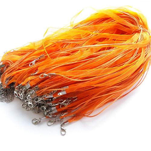 Organza stuha se 3 šňůrkami oranžová - 10 ks